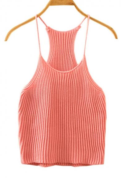 03da01ef1273c Women s Cami Crop Top Spaghetti Strap Knit Tank Top - Beautifulhalo.com