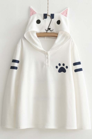 Women's Cute Cat Print Long Sleeve Loose Casual Pullover Hoodie ...