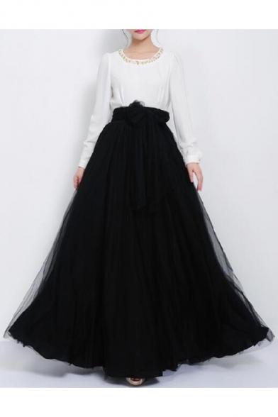 d5615b8e6d ... Women's Gauze High Rise Bow Front A-Line Flared Maxi Skirt