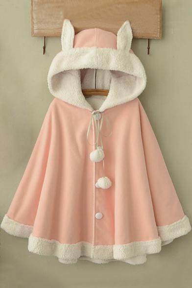 Rabbit Asymmetrical Hem Coat Single Women's Cute Hooded Cape Breasted vaq7nC