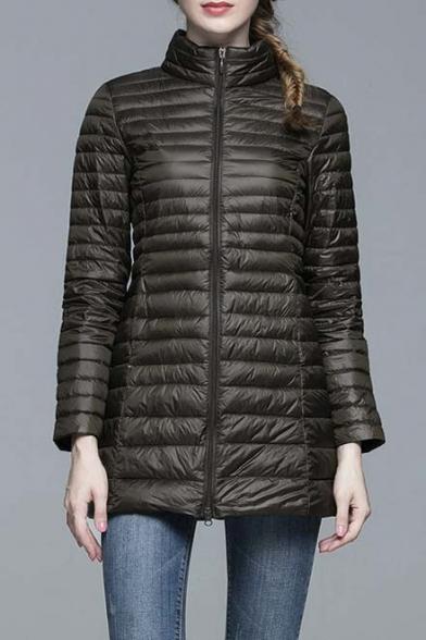 Women's Ultra Light Packable Long Down Jacket Outwear Zip Down Coats