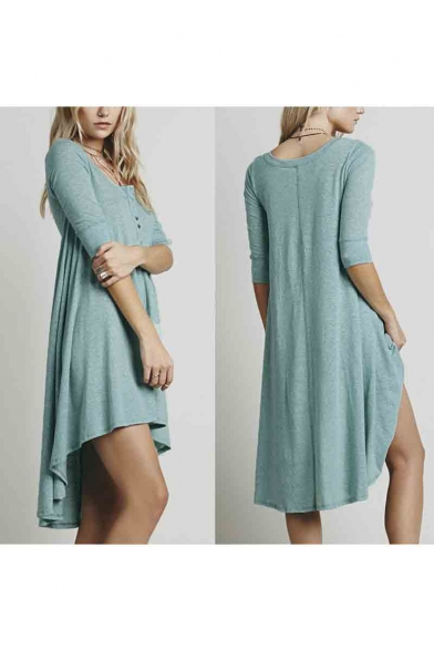 Women's V-Neck 3/4 Sleeve High Low Hem Pleated Dress