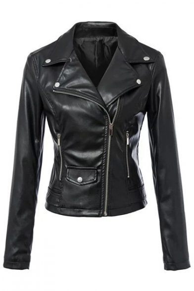 Women's Zipper Motorcycle Biker Faux Leather Jackets