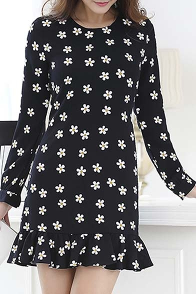 Floral Print Long Sleeve Round Neck Ruffle Hem Women S
