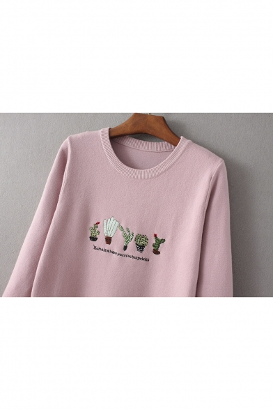 595687441b ... Trendy Cactus Embroidery Round Neck Pullover Sweater White Blue Pink ...