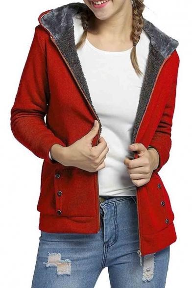 Women's Winter Thicken Zip Up Fleece Lined Hoodie Jacket Outerwear ...