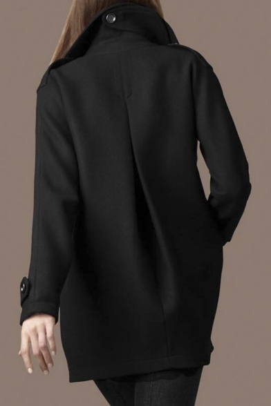 Long Breasted Notched Lapel Double Sleeve Tunic Chic Coat Plain 64ItFqt