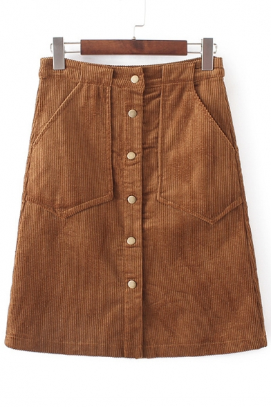 High Rise Single Breasted Women's Corduroy A-Line Mini Skirt
