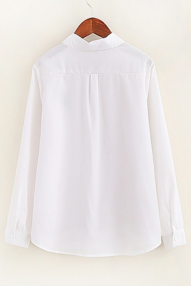 Leaf Pocket Long Sleeve Peter Pan Collar Buttons Down Women S White