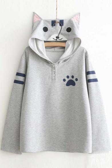 Women's Cute Cat Print Long Sleeve Loose Casual Pullover Hoodie