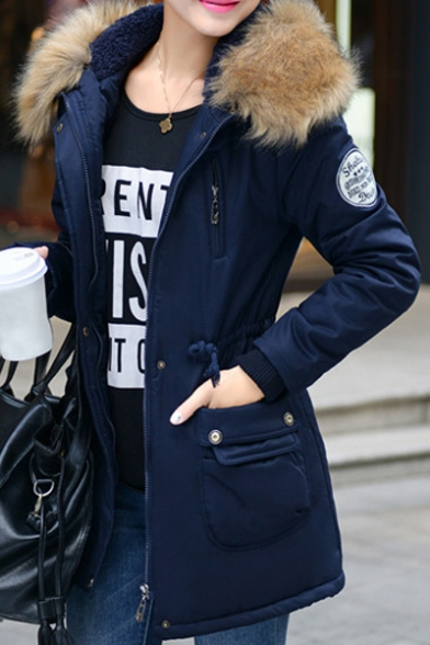 Women's Fur Hooded Winter Warm Zip Placket Warm Coat