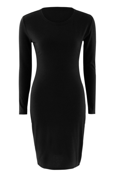 Midi Color Pencil Neck Round Long Solid Sleeve Women's Dress 4pRHwq0A