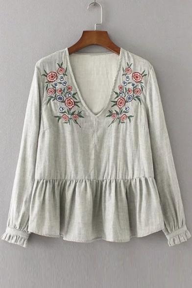 Women S V Neck Floral Embroidery Long Sleeve Ruffle Hem