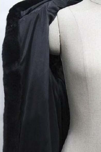 Faux Fur Women's Hooded Open Front Long Sleeve Winter's Coat