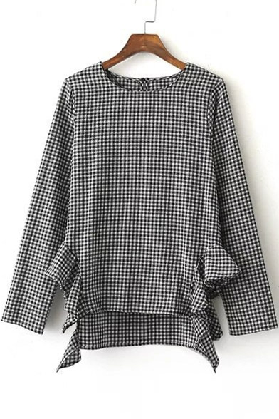 Stylish Ruffle Detail Dip Hem Long Sleeve Plaid Blouse with Keyhole Back