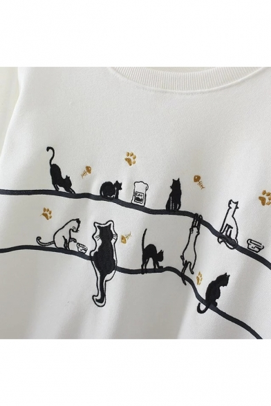 Cute Round Casual Women's Long Print Neck Sleeve Sweatshirt Cat Basic q4pBacS