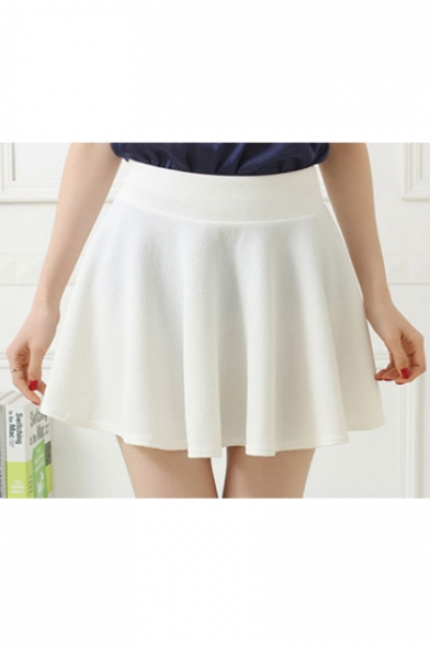 Womens Basic Versatile Stretchy Flared Skater Skirt