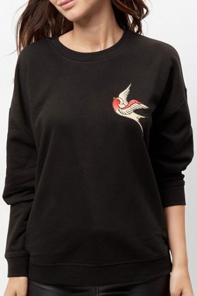 Bird Embroidery Long Sleeve Round Neck Women's Fashion Sweatshirt