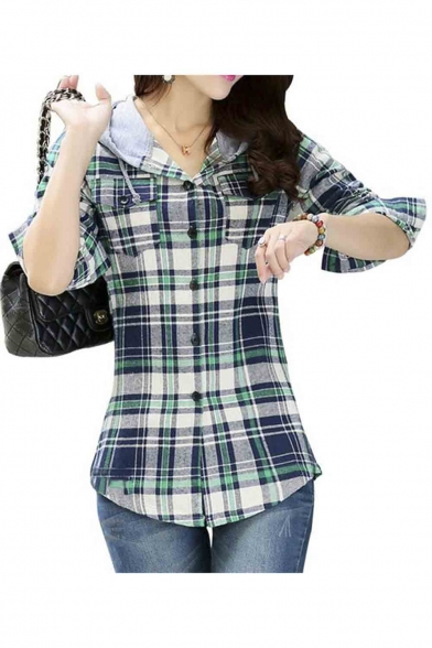 Women Classic Long Sleeves Cotton Hoodie Button-up Plaid Shirts