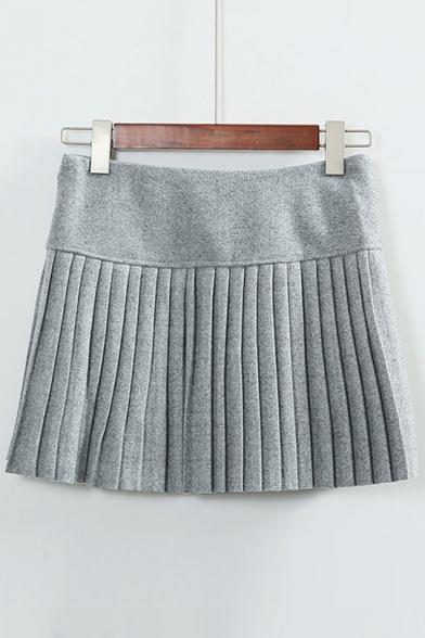 Peppy Style Plain Zip Side Pleated Mini A-Line Skirt