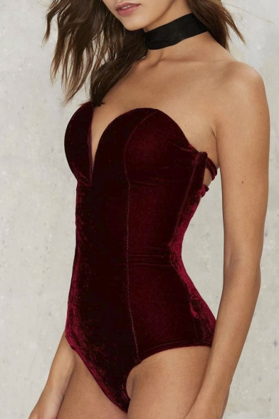 Sexy Fashion Plunge V-Neck Sleeveless Plain Bodysuit