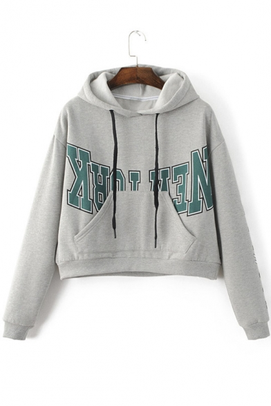 Fashion Letter Print Long Sleeve Women's Pullover Drawstring Hoodie