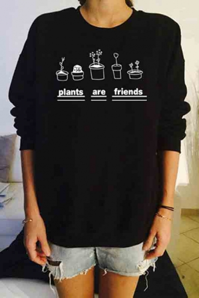 dec195cfd Letter Graphic Print Long Sleeve Round Neck Women's Pullover Sweatshirt ...