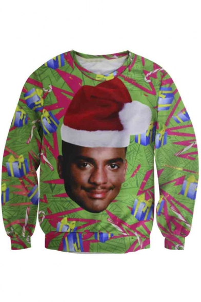 Unisex Funny Print Ugly Christmas Pullover Sweatshirt