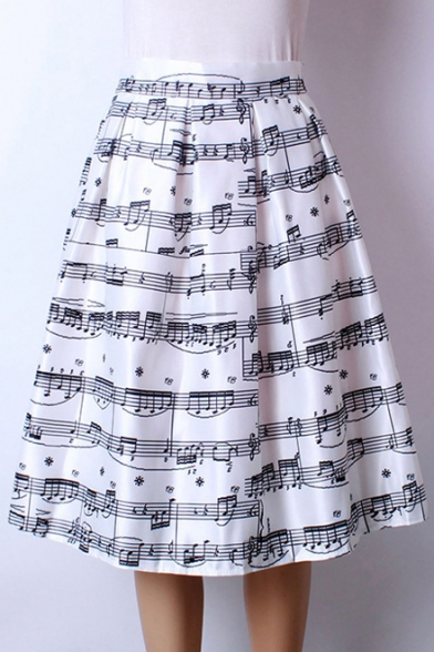 e8001b720c Women's High Waist Note Print Pleated Skirt Midi Skater Skirt One Size -  Beautifulhalo.com