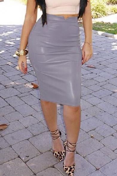 Women Slim Fit Faux Leather Pencil Midi Skirt