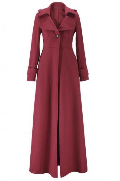 Lapel Coat Maxi Sleeve Notched Fashion Long Single Plain Button vOTxU15q