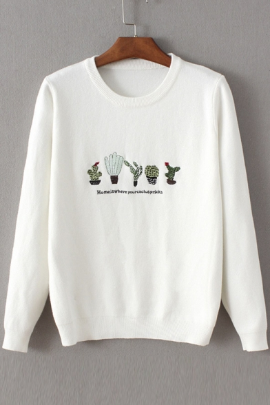Trendy Cactus Embroidery Round Neck Pullover Sweater Whitebluepink