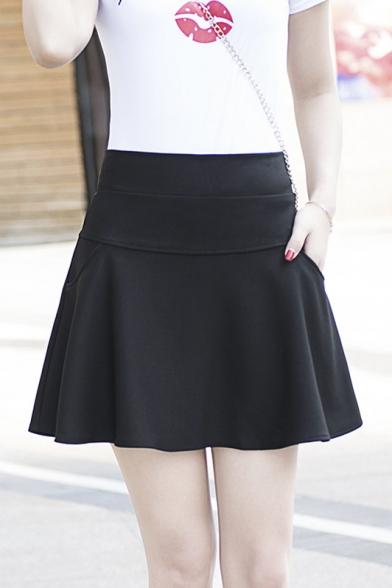 Women's Winter High Rise A-Line Plain Mini Skirt