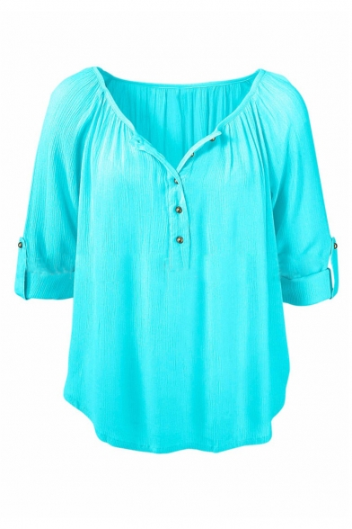 Sleeve Neck Casual Blouses Linen Up Shirts Tops Long Womens V Button HZ1xSY1wq
