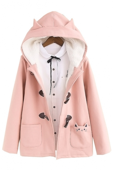 Printed Breasted Pocket Cute Coat Hooded Plain Single Cat 4nqBCvExwp