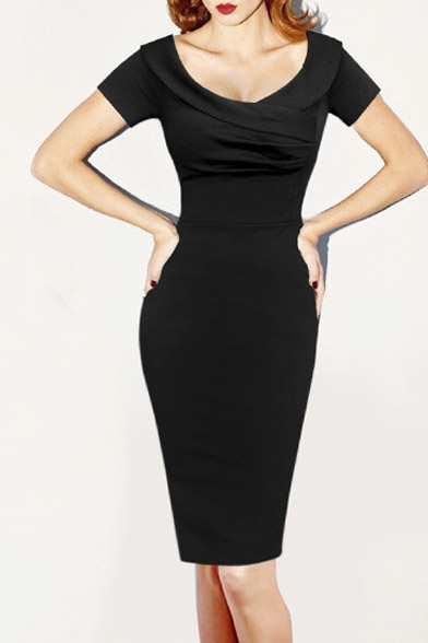 Fashion Sexy V Neck Short Sleeve Zip-Back Plain Mini Pencil Dress
