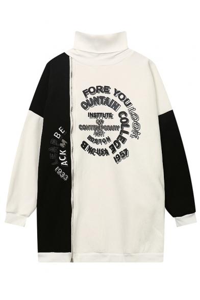 New Stylish Letter Printed High Neck Color Block Zip Up Sweatshirt