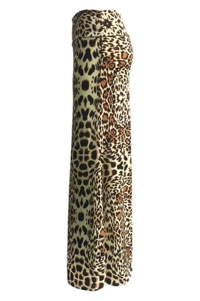 89c675d72d6362 ... Women's High Rise Fashion Leopard Print Full Length Maxi Skirt