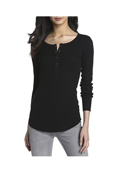 beauty how to purchase bright in luster Women's Thermal Long Sleeve Henley Tee