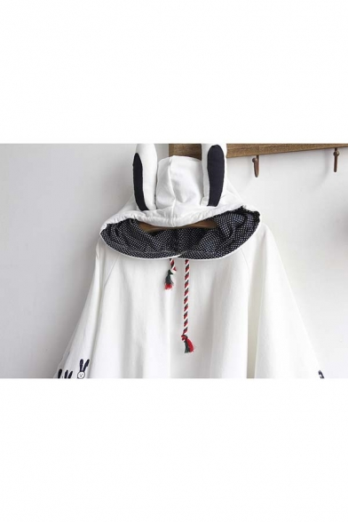 Cute Rabbit Ear Hooded Animal Printed Cape for Spring