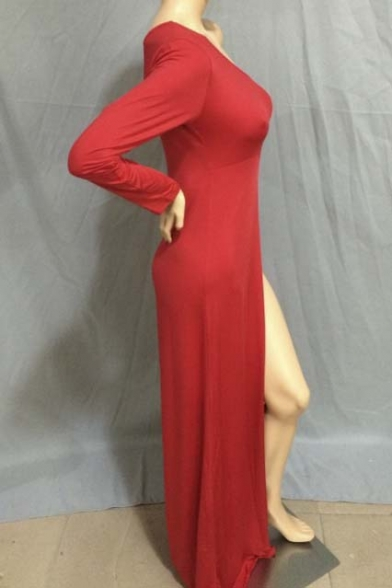 High One Long Sexy shoulder Dress Sleeve Maxi Slits Size Plus wavqYT4