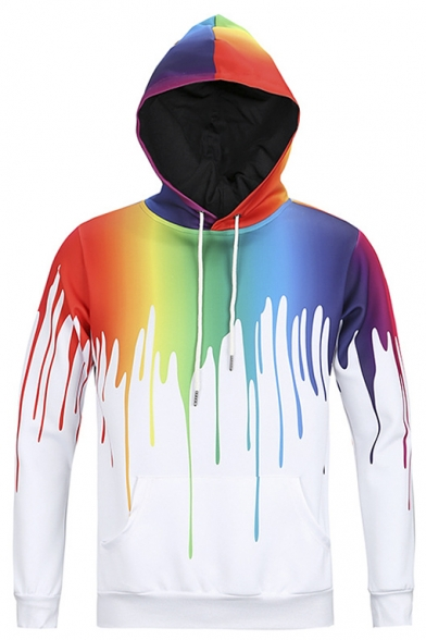 Sweatshirt Paint Drip Hoodie Pullover Plus Size Long Sleeve Shirt