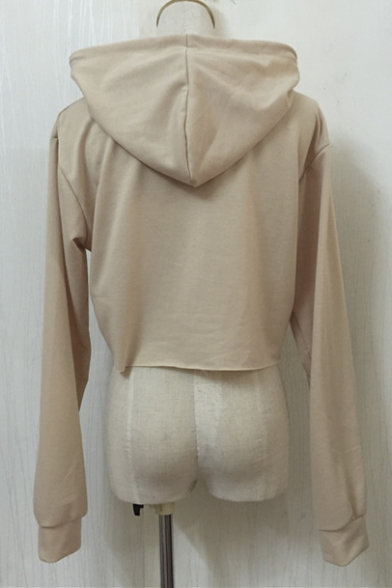 Women's Plain Long Crop Top Hoodie Loose Sleeve E5qwFxEIr
