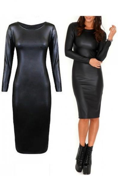 Dress Women's Fashion Long Sleeve PU Pencil Round Midi Plain Neck Uw1xqCzw
