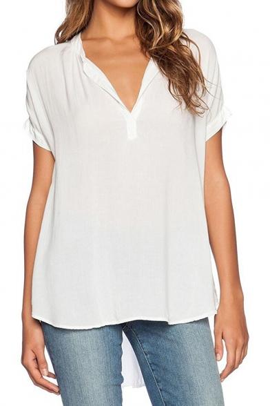 Chiffon Sleeve Shirts Women Short Top V Blouse Neck p8xTqOB