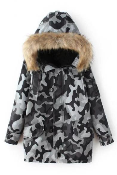Women's Fur Hooded Zip Placket Camouflage Print Winter's Warm Coat