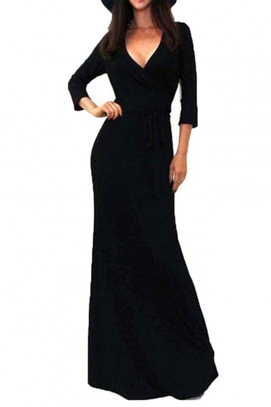 Image of 3/4 Sleeve V-Neck Tie Waist Women's Sexy Maxi Evening Dress
