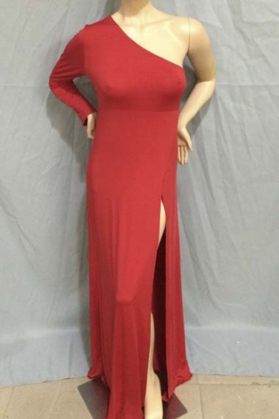 High One Long Sexy shoulder Dress Sleeve Maxi Slits Size Plus wavqYT4