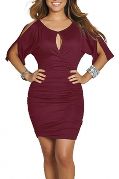 with Bodycon Cold Dress Bandage Sleeve Shoulder Women's Midi Party 06Cq0w