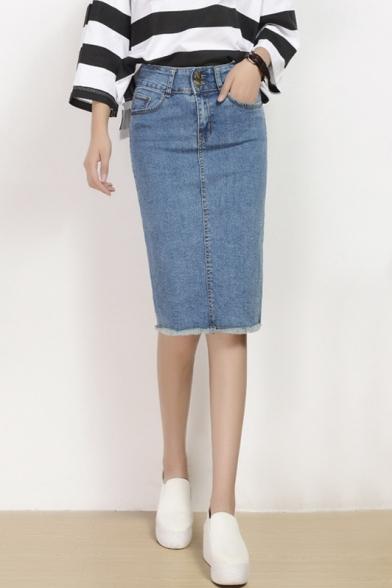 Women's Fashion Denim Skirt Midi Plain Pencil Skirt ...